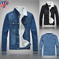 Mens Winter Warm Fleece Fur Lined Denim Jacket Button Casual Trucker Jean Coat