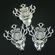 38429 Antique Silver Tone Alloy Deer Head Charms Cameo Setting Inner 9x9mm 12PCS