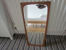 Vintage Teak Danish Wall Mirror Bevelled Tapered Retro Denmark