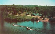 Caribou Lodge Wood Lake Muskoka Ontario ON Water Skiing Vintage Postcard D32