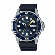 Casio MTP-S110-2AV, Men's Watch, Blue Resin, Black Dial, Date, Solar Battery
