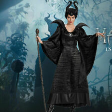 Ladies Deluxe Black Maleficent Christening Gown Costume Witch Fancy Dress