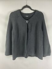 Jaeger Size UK XL 18 20 Black 100% Cotton Cardigan Flare Sleeve Button
