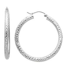 14K White Gold 3mm Thickness Diamond Cut High Polished Fancy Cut Hoop Earrings