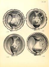 Stampa antica argenteria BROCCHE e BACINELLE Boulenger 1890 Old print silverware