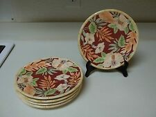 Home Trends Hibiscus ~ Set of 5 Salad Plates ~ Leaves Flowers