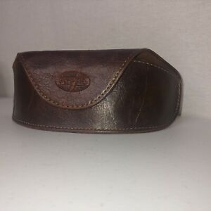 Fossil Leather Sunglasses Case Eye Glasses Brown Magnetic Distressed Look