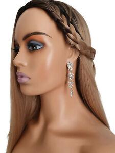 Gorgeous 8cm long ROSE gold tone & diamante - crystal long drop earring's  #A36