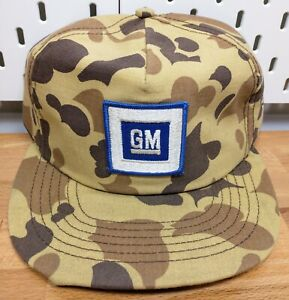 Vintage GM General Motors Patch Camo 1990s Snapback Hat