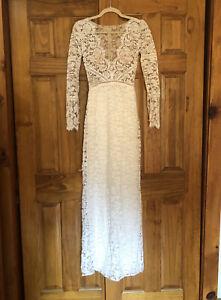 Sarah Seven Venice Wedding Dress Size 4 White Lace DressRomantic Elegant