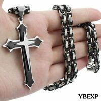 20''-36''Men Stainless Steel Cross Pendant Black Necklace Byzantine Box Necklace