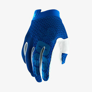 100% Cycling Gloves Full Finger Motorcycle Long OFF-Road MTB Glove Blue Size M