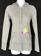 Talula  Hooded Sweatshirt Button Hoodie Size Small Women's Grey Embroidered