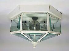 "Flush Mount Octagon Ceiling Light Fixture 10"" Base Beveled Clear Glass White"