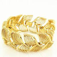 "Vintage NAPIER Wide Gold-tone Feather Link BRACELET 7.5"""
