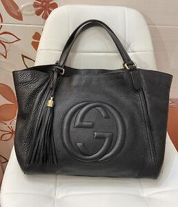 100% Authentic Gucci Soho Handbag Leather Black Tassel Shoulder Bag