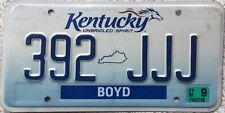 GENUINE Kentucky Spirit Horse Boyd County License Licence Number Plate 392 JJJ
