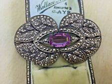 ANTIQUE BROOCH OLD JEWELLERY LARGE CZECH BOHEMIA MARCASITE SILVER LILAC CRYSTAL