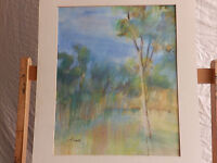 California Artist Mary Lind LANDSCAPE Vintage Watercolor Painting Impressionism