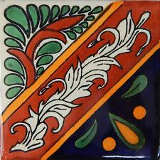 "Handmade Mexican Tile Sample Talavera Clay 4"" x 4"" Tile C172"