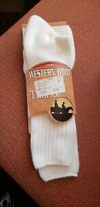 New Thorlos White Moderate Cushion Western Dress Boot Socks Men's XL USA
