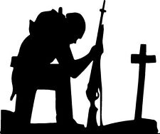 Soldier Kneeling at Cross American Patriot Peace War Never Forgotten White 5x3.5