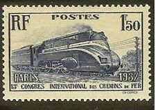 """FRANCE STAMP TIMBRE N° 340 """" CHEMIN DE FER LOCOMOTIVE PACIFIC 1F50"""" NEUF xx LUXE"""