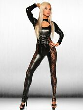 New Womens Sexy Black Erotic Pole Dancer Bodysuit Lace Costume Faux Leather
