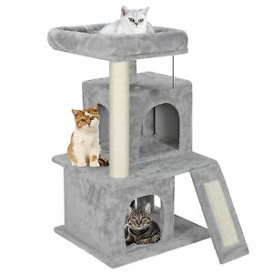 """34"""" Large Cat Tree Activity Scatch Tower Kitty Play House Plush Perch w Ladders"""