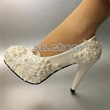su.cheny 2/3/4''heel white pearl lace Wedding Bridal flats pump heels shoes 5-13