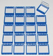 LEGO LOT OF 20 BLUE  WINDOWS NEW 1 X 4 X 3 TOWN CITY HOUSE BUILDING PARTS