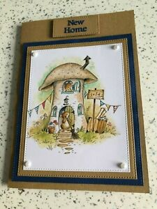Handmade New Home card mice & mushroom toadstool cute new house moving home