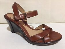SOFFT BROWN LEATHER WEDGE HEEL ANKLE STRAP SANDALS WOMENS SZ 6.5 M