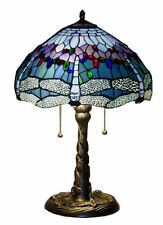 """Tiffany Style Lamp 26""""H Blue Jewel Stained Glass Dragonfly Table Light Lamps NEW"""