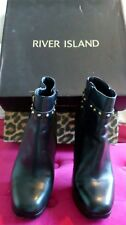 RIVER ISLAND OLLY FAS BLACK LEATHER ANKLE BOOTS SIZE 5 (38) PLATFORM SQUARE TOE