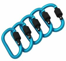 Blue SNAP HOOK Carabiner Clips ~ 78mm Long ~ WATER PROOF ~ Secure Screw Locking
