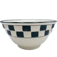 "Hartstone Dark Green Check Mixing Bowl 2 Rib Farmhouse Checkerboard 9.5"" Nesting"
