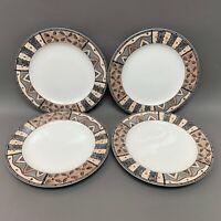 Sakura Terrain Sue Zipkin Fossil Brown White Multicolor Dinner Plates Lot of 4