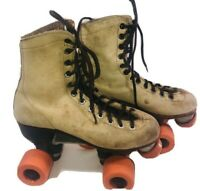 Vintage Chicago Tan Brown Roller Skates Size 4 with Wheels & Bearings 1979 Steel