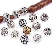 10PCS Retro Alloy Viking Hollow Round Hair Braid Dreadlock Beads Rings TubeB Fy