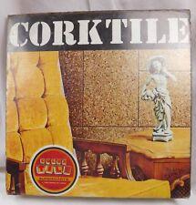 "Vintage NOS Sealed 12"" Square Genuine Cork Tile Pack of 4 Tiles Retro Wall"