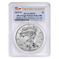 Sale Price - 2019 W 1 oz Rev. Silver Eagle PCGS PF 70 FDOI Pride of Two Nations