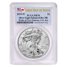 2019 W 1 oz Reverse Proof Silver Eagle PCGS PF 70 FDOI (Pride of Two Nations)