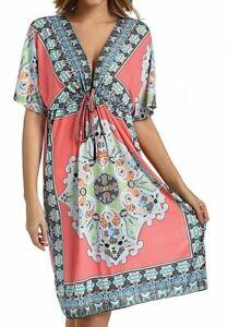 Ladies Floral Batwing V Neck Party Dress UK 14 16 18 Plus Casual Beach Kaftan