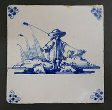 Antique Dutch Tile Man with Fishing Rod
