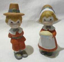 Ceramic Thanksgiving Pilgrim Boy and Girl