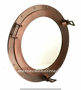 "Aluminium Copper Finish 17""Ship Porthole Window Mirror Nautical Round Wall Decor"