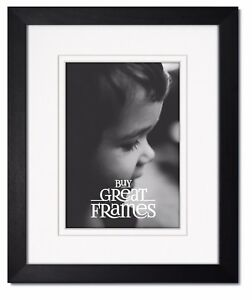 Madeline Black Wood Picture Frames with Double White/White Mats and Clear Glass