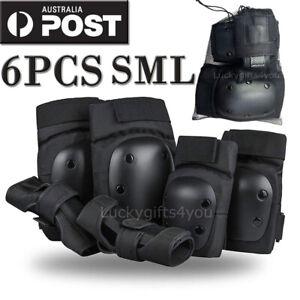 6 Piece Skate Racing Protection KIT Elbow Pads Knee Pads Wrist-Brace Guards AU