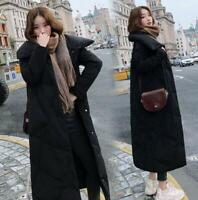 Womens Long Winter Thicken Down Jacket Stand Collar Parka Korean Warm Loose Chic
